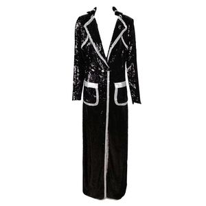 Dresses & Skirts - Black Sequin Robe With Silver Trim